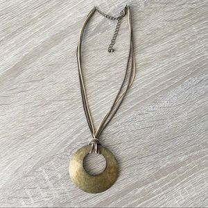 Antiqued Bronze Medallion Rope Necklace